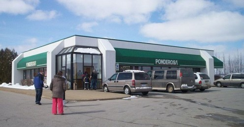Ponderosa in West Branch, Michigan in 2012. Few are remaining and they used to look like long wooden bunkhouses.