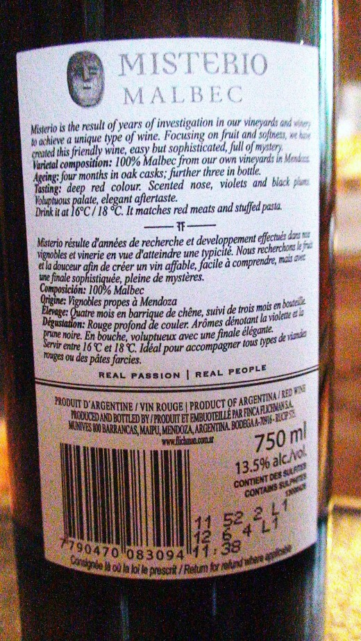 Back label of the same wine bottle.  Note the brief description followed by the varietal composition, ageing process and under tasting its style is indicated.  It also provides ideal serving temperature and suggested food pairings.