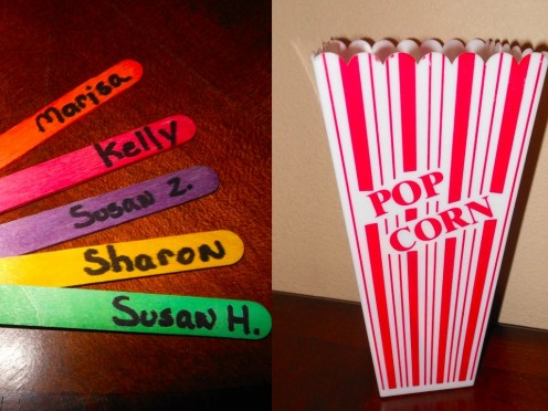Colored popsicle sticks and a simple popcorn bucket are a fun way to add randomization strategies in your classroom.