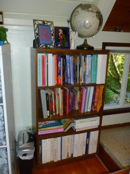 Our school bookshelf is easily accessible and big enough for the year's curriculum. Note the globe.