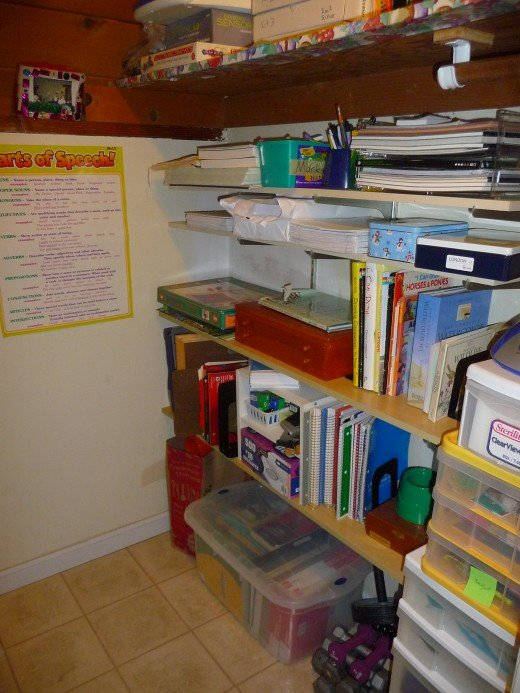 A well-organized school supplies closet takes the pressure off Mom. Perk it up with colorful posters to keep things fun!