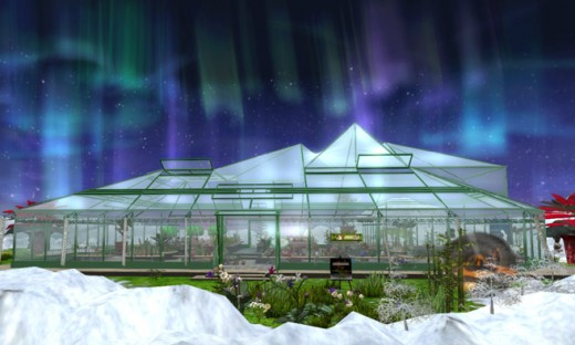Beneath the winter aurora, in the center of this peaceful island, you'll find a greenhouse warmed and powered by underground volcanoes.