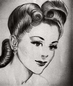 The combination pompadour/chignon hair do -- very popular in the 1940s.