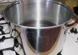 Boil Water with regular salt.