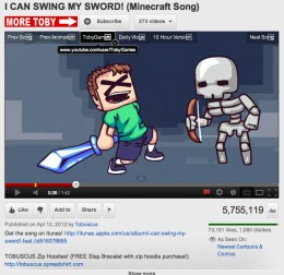 """Screen capture of """"I Can Swing My Sword"""" by Tobuscus"""