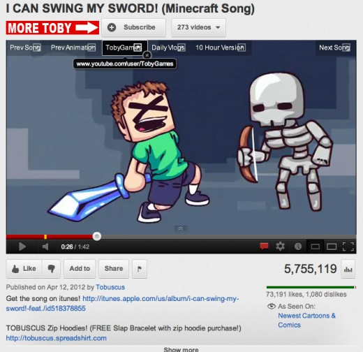 "Screen capture of ""I Can Swing My Sword"" by Tobuscus"