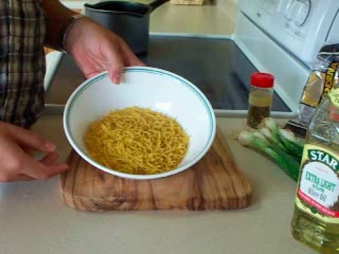 Prep the pasta with oil and microwave it to brown.