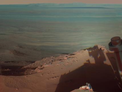 NASA's Mars Rover Opportunity and its in a view eastward across the Endeavour Crater on Mars.
