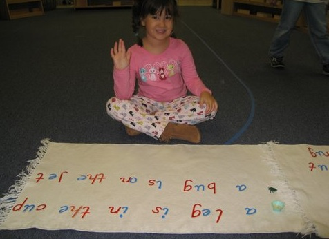 Once children know the sounds associated with each letter, they can sound out words easily when they read and when they write.  In the Montessori moveable alphabet shown above, vowels are blue and consonants are red.