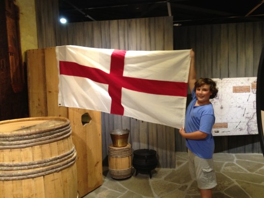 1670 Carolina flag in the Visitor Center's museum