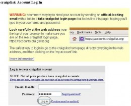 Log in to your Craigslist account.