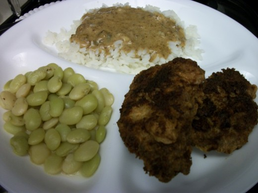 Lima beans, rice and milk gravy, and fried cubed steak