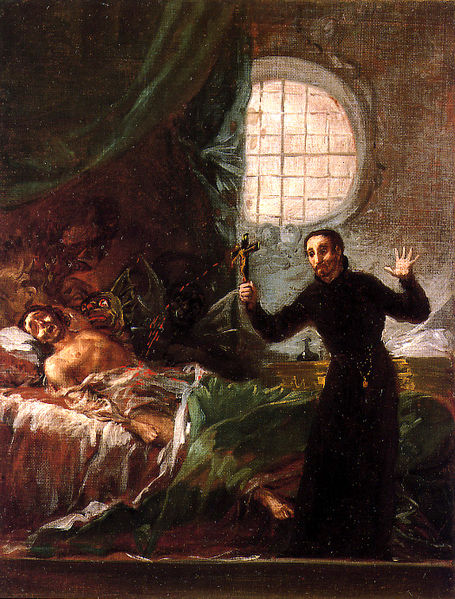 Exorcism was an established custom of priests and healers even before Christianity. San Francisco de Borja attends a dying unrepentant (sketch). Oil on Lienz by Francisco de Goya. 38 x 29 cm. Collection Marquise de Santa Cruz (Madrid, Spain).