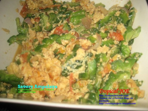 Savory Ampalaya - with scrambled eggs, ripe tomatoes and spices