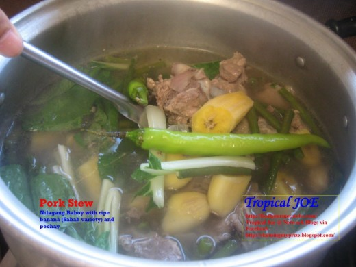 Pork Stew - with ripe banana and pechay, spices and long green pepper