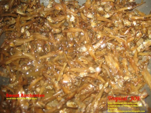 Sweet Anchovies - dried dilis, fried in little vegetable oil with brown sugar
