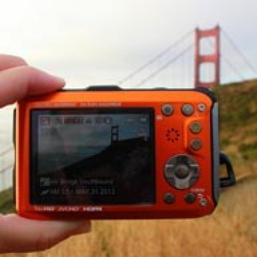 Panasonic TS4 camera with geotagging information for the Golden Gate bridge.