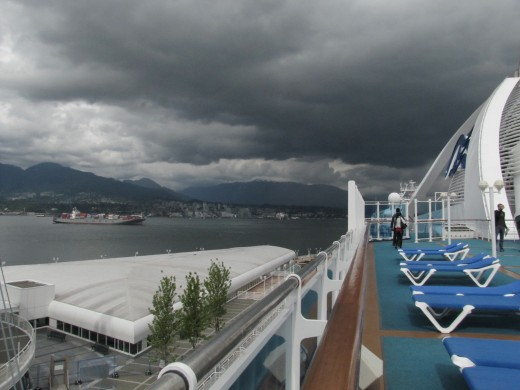 This is the sky when we left Vancouver BC