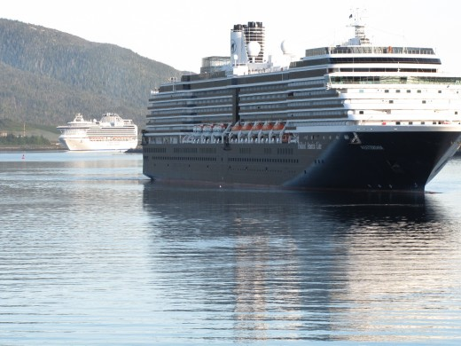The Westerdam and the Diamond Princess pulling in to port in Ketchikan Alaska.