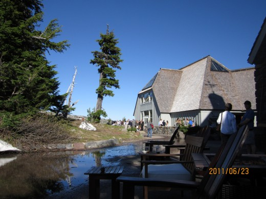 Outside of Timberline Lodge, Summer 2011. Nice and cool.