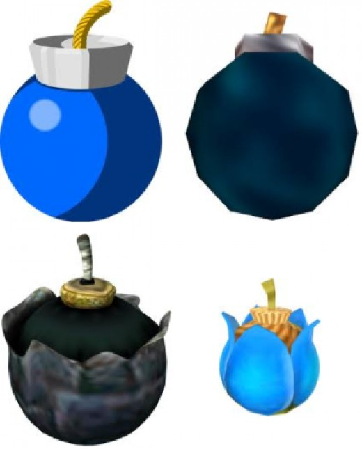 Various bomb incarnations. L-R: Wind Waker, Ocarina of Time, Twilight Princess, Skyward Sword