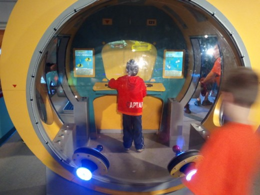kids can play in a miniature submarine