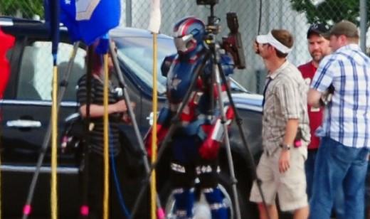 Iron Patriot on set of Iron Man 3