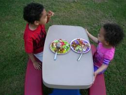 Kids enjoying dinner