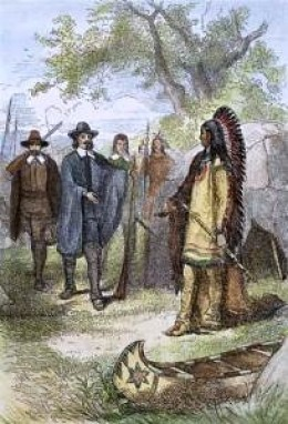 Massasoit meets colonists