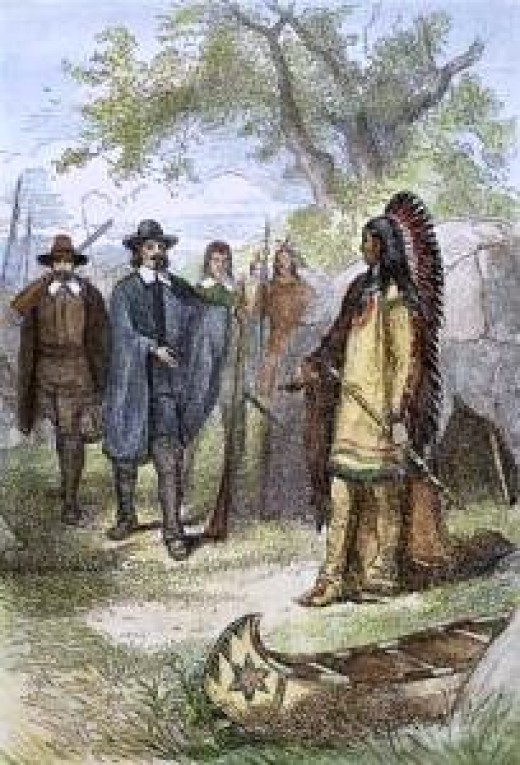 Massasoit meets colonists