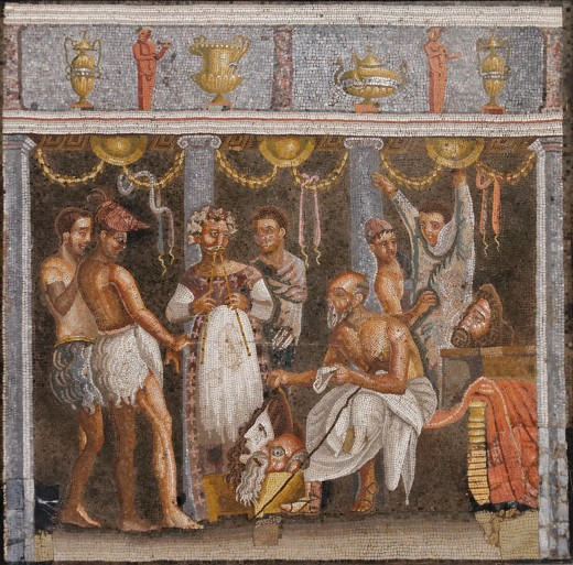 Actors and chorus members, Roman mosaic