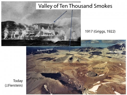 Photographic comparison of the Valley of Ten Thousand smokes in 1917 and modern day.
