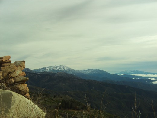 A glimpse of the boulders with the view of Mount San Gorgonio.