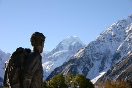Sir Edmund is gazing at Mount Cook in New Zealand,  The statue is a perennial monument to him.