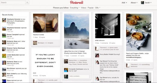 Pinterest 'boards' are like virtual notice boards, where you 'pin' something you like on there.  In the case of your photography, you can pin your photos on there, and others can find that pin, and re-pin it to their own board.  See the potential!