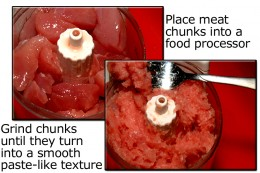 Spin down the meat chunks in a food processor until they turn into a smooth textured paste.