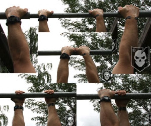 Example of different pull-up grips