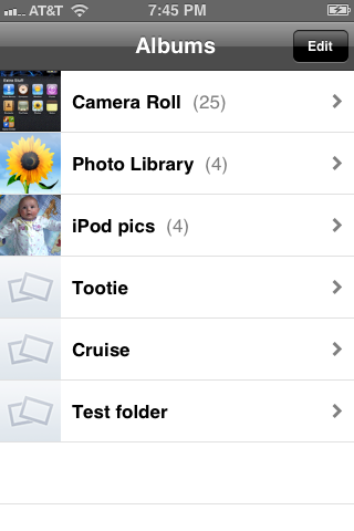 Select the album where the pictures you want to email are located.