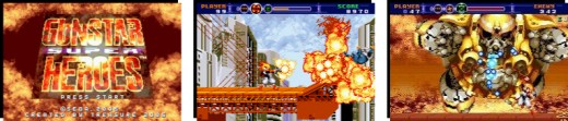 Gunstar Super Heroes Title screen, gameplay,Boss fight