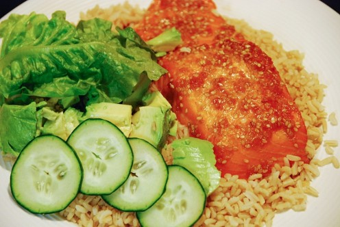Brown Rice with Vegetables and Salmon