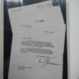 A copy of the letter President Truman sent to Town Line is on file at the town's historical society.