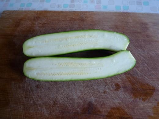 cut through squash in half