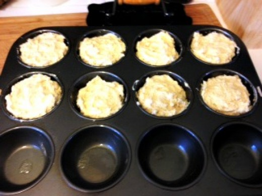 Batter in the cupcake tin.