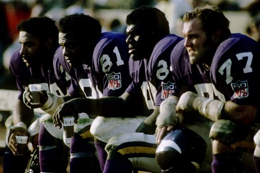 The Purple People Eaters (from left to right): Jim Marshall (70), Carl Eller (81), Alan Page (88), and Gary Larsen (77)