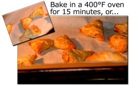 Preheat oven to 400°F, and bake the triangles for about 15 minutes.