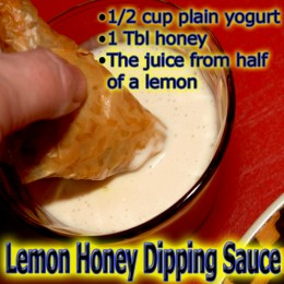 This tangy sweet yogurt dipping sauce is the perfect mate for these beef stuffed pastry triangles!