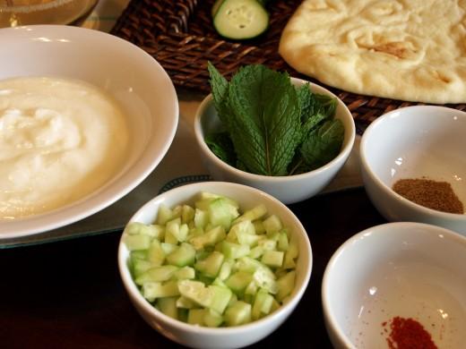 Ingredients -- Yogurt, Cucumber, Fresh Mint, Cumin and Cayenne Pepper  -- Salt and Pepper to taste