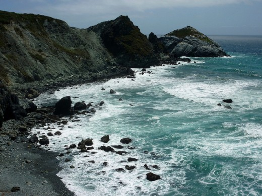 A rocky beach off of Hwy 1.