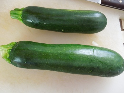 These are the zucchini I used. You can see one is a bit bigger than the other. That's OK.