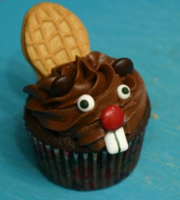 Beaver Cupcake with Nutter Butter Tail.  Sorry Mr. Beaver, you are tasty.  HAVE.